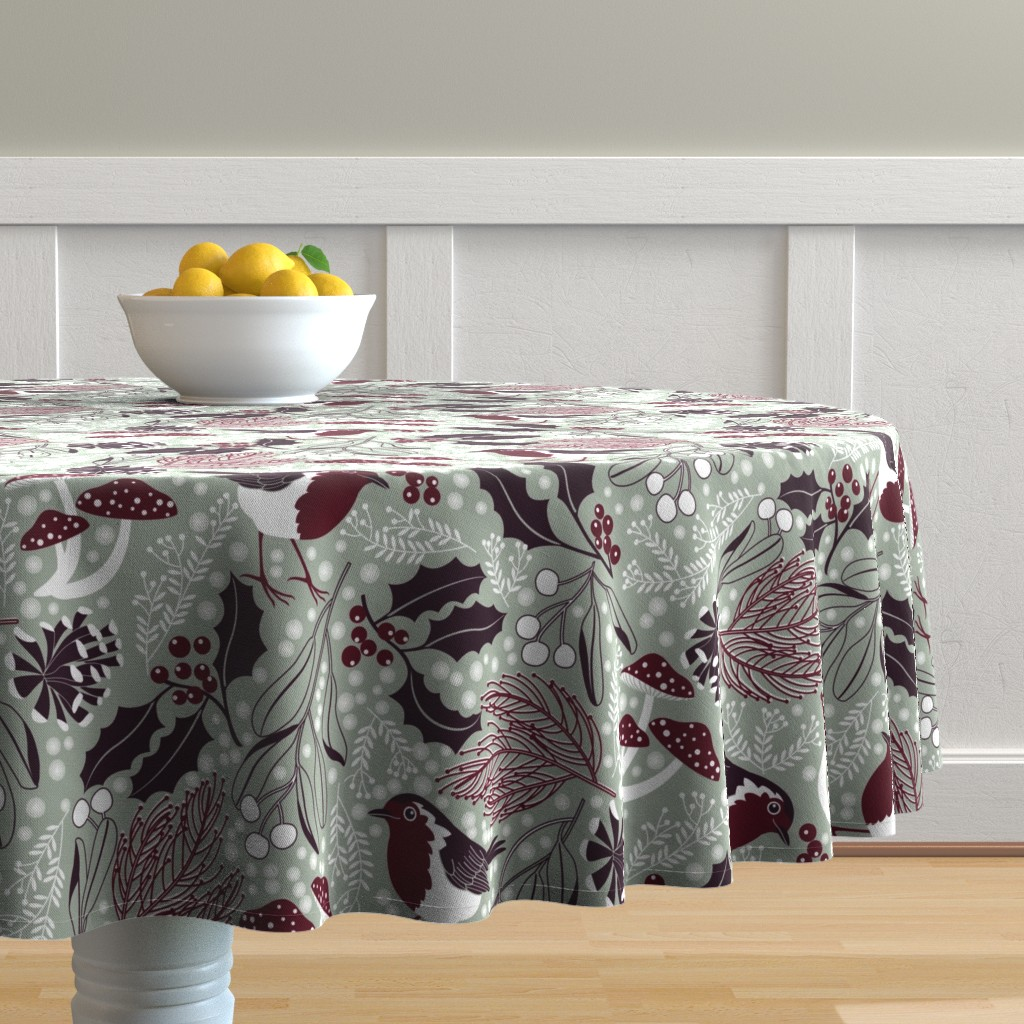 Malay Round Tablecloth featuring woodland holiday by cjldesigns