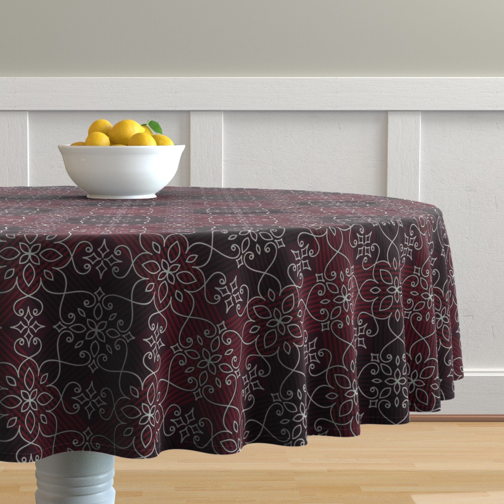 Malay Round Tablecloth featuring lace on dark red by klivenkova