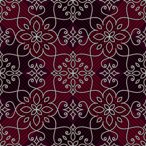 lace on dark red