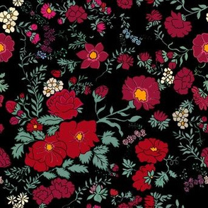 Project 397 | Cottage Rose | Deep Reds on Black (more roses!)