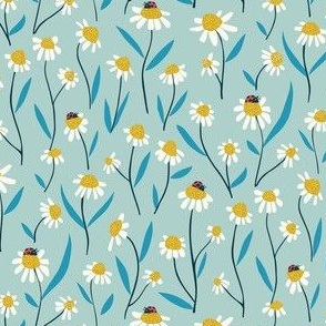 Wild daisies and ladybugs