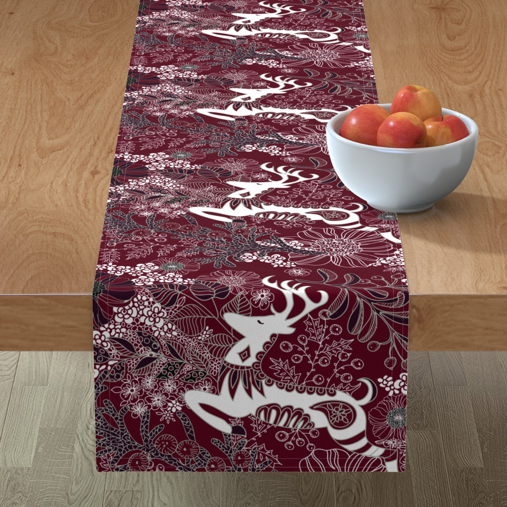 Minorca Table Runner featuring Lanai City Elegant Holiday  by honoluludesign