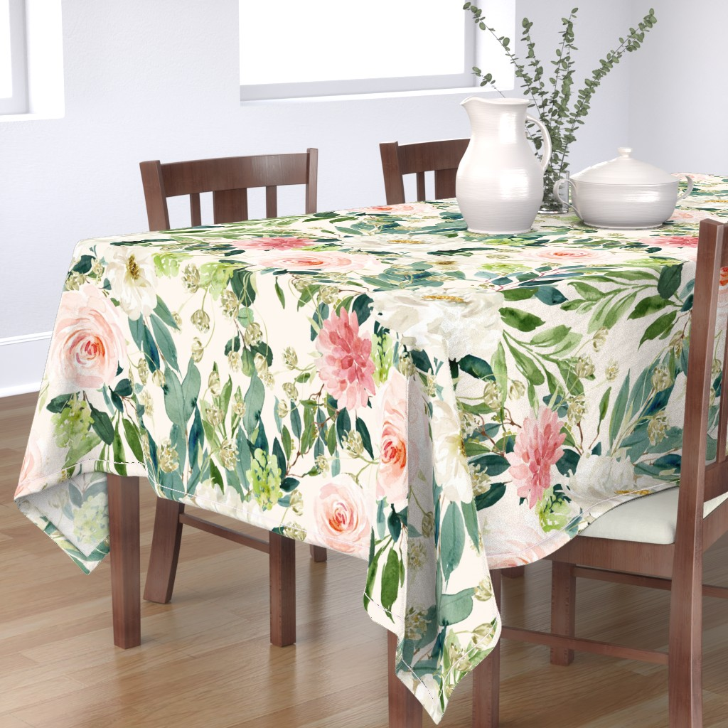 "Bantam Rectangular Tablecloth featuring 36"" Pink and White Garden - Ivory by shopcabin"