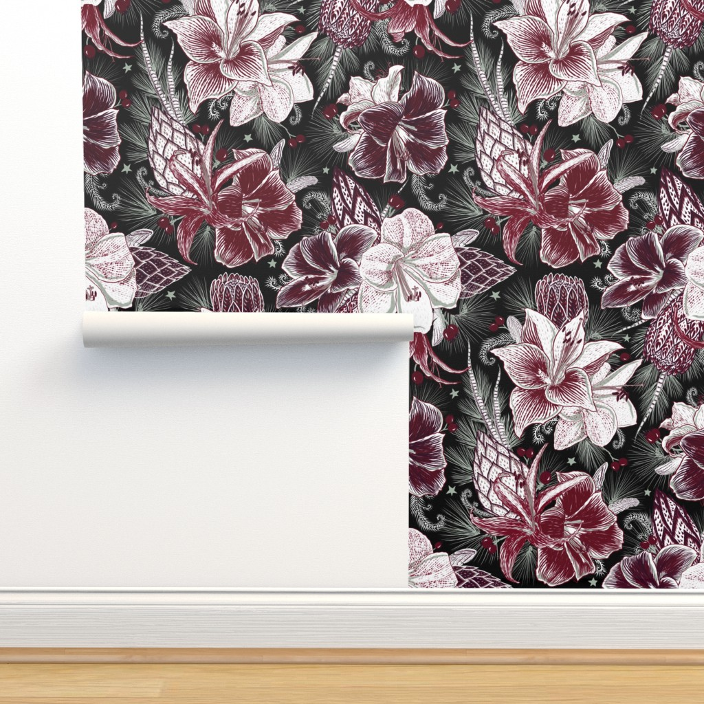Isobar Durable Wallpaper featuring Elegant Holiday Bouquets on black by helenpdesigns