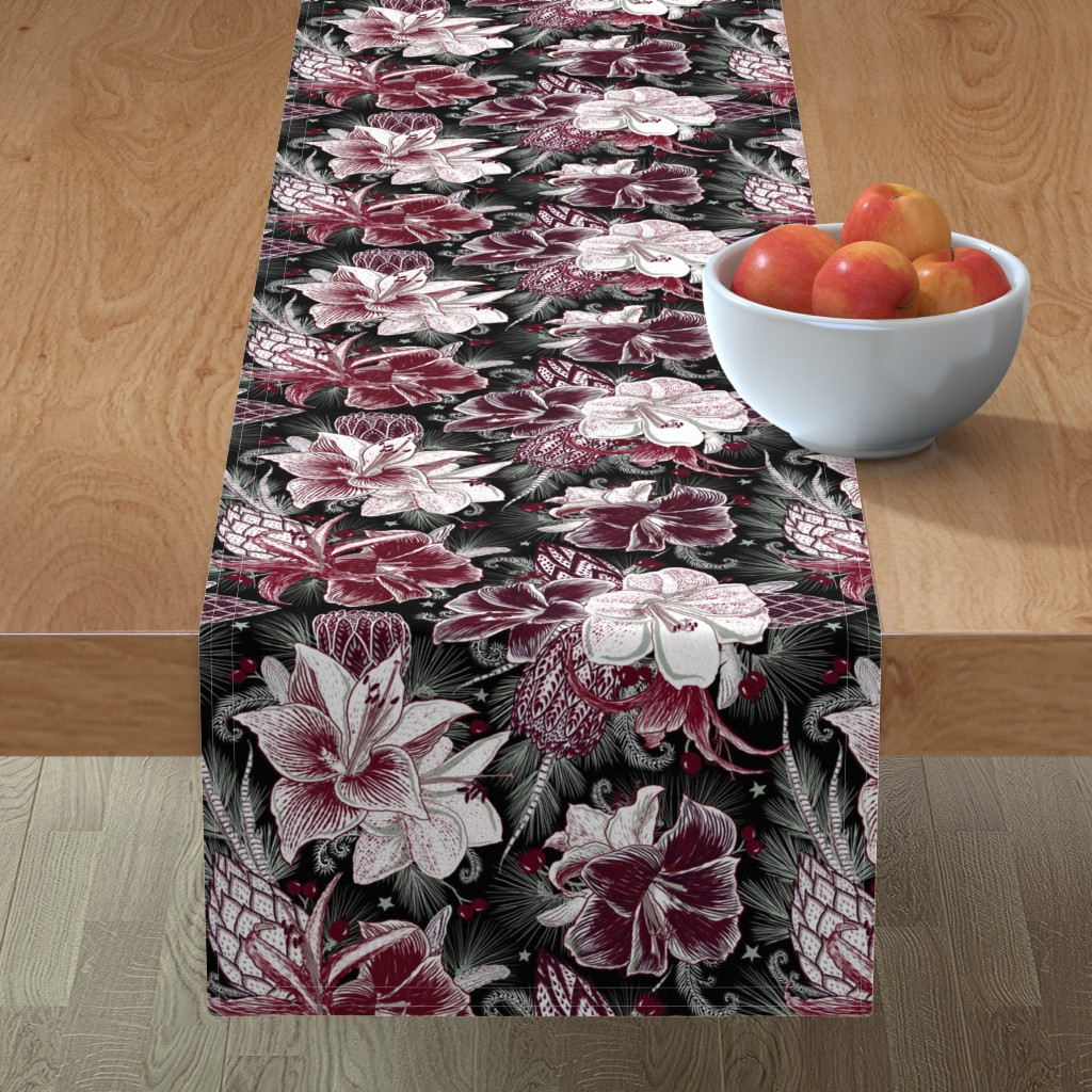 Minorca Table Runner featuring Elegant Holiday Bouquets on black by helenpdesigns