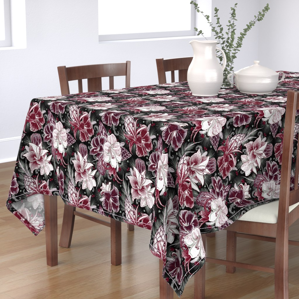 Bantam Rectangular Tablecloth featuring Elegant Holiday Bouquets on black by helenpdesigns