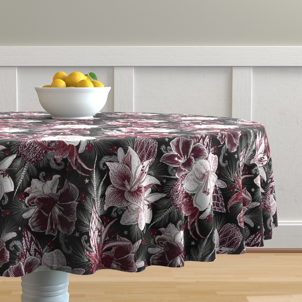 Malay Round Tablecloth featuring Elegant Holiday Bouquets on black by helenpdesigns