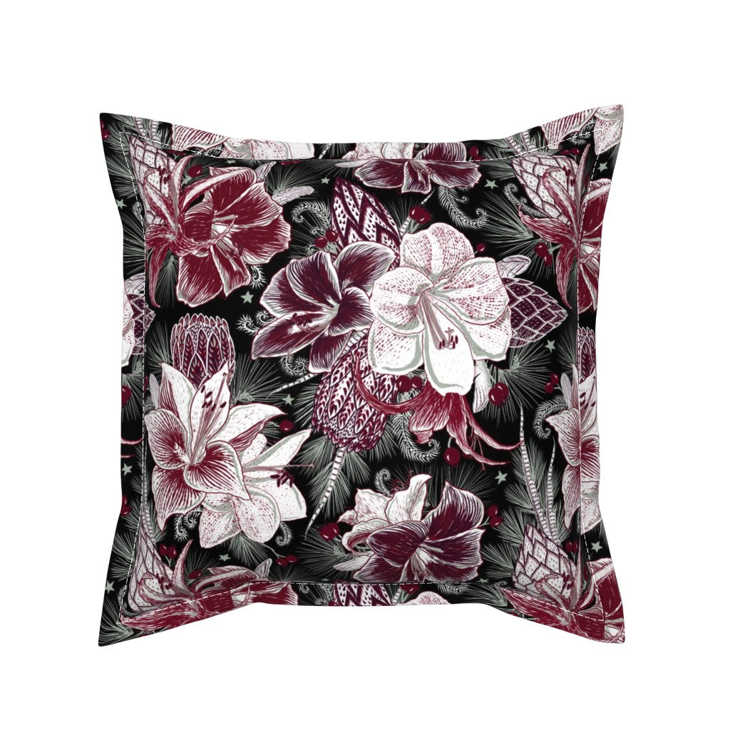 Serama Throw Pillow featuring Elegant Holiday Bouquets on black by helenpdesigns