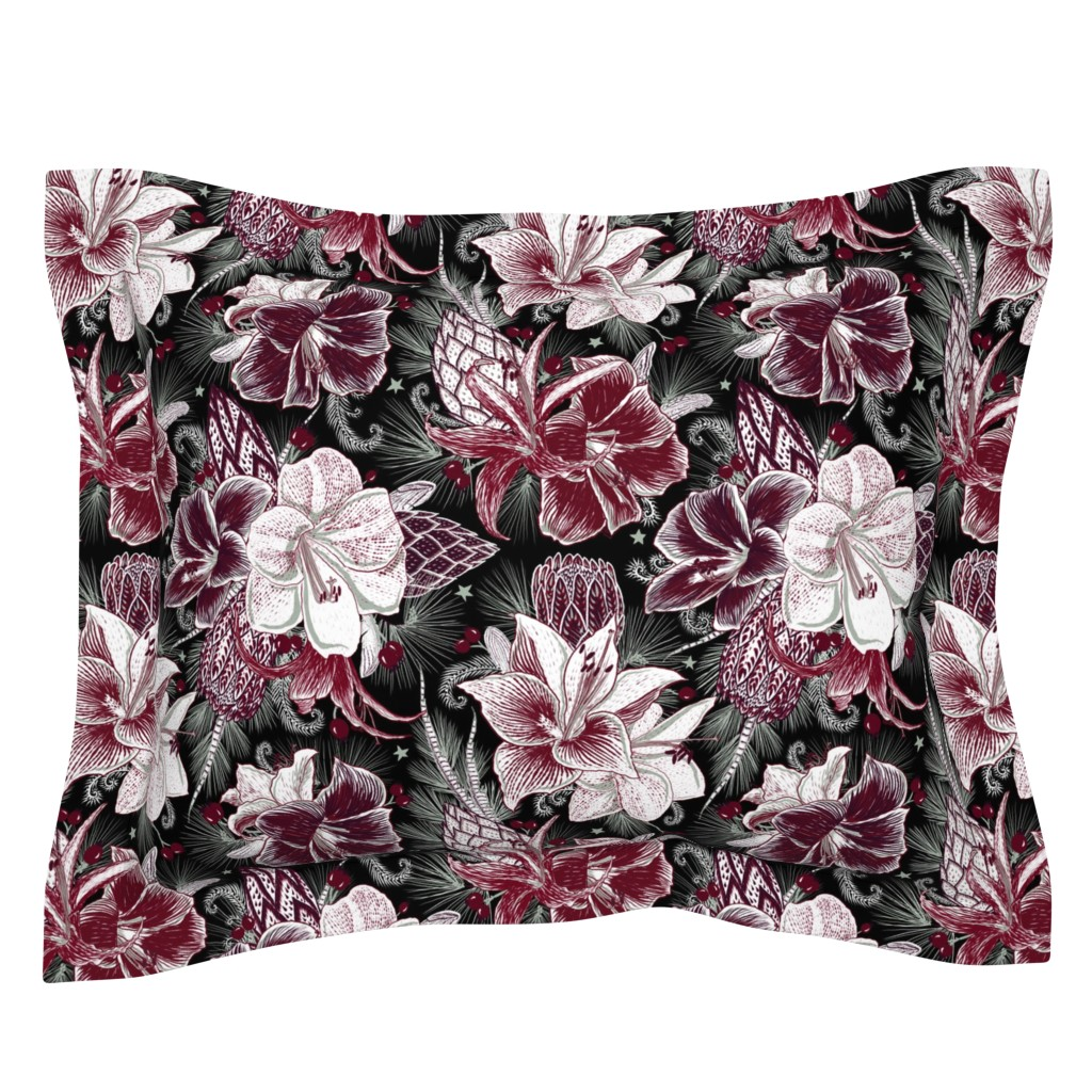 Sebright Pillow Sham featuring Elegant Holiday Bouquets on black by helenpdesigns