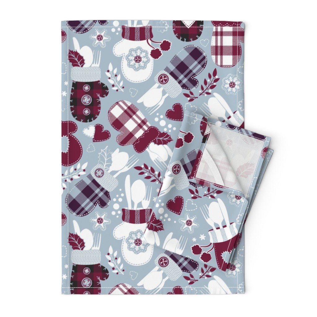Orpington Tea Towels featuring Christmas holiday dinner cozy gloves VII by selmacardoso