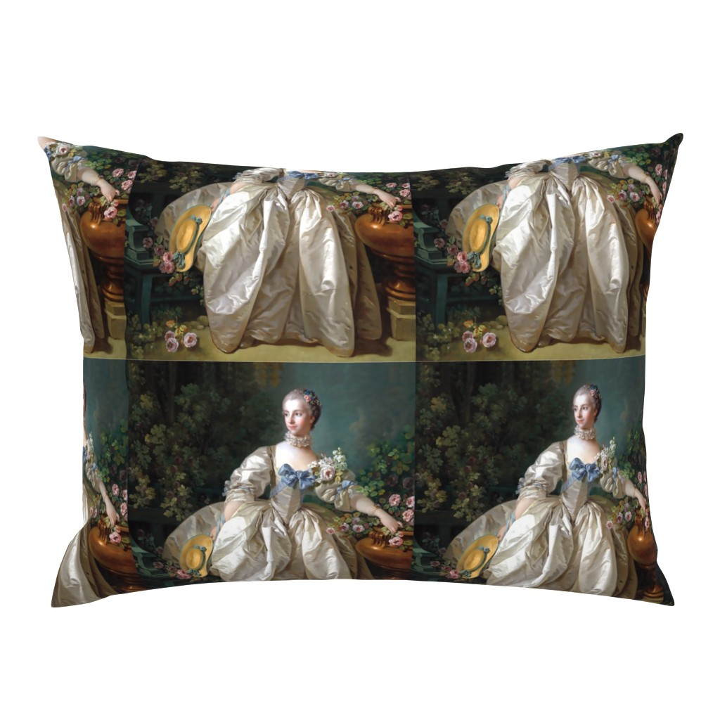 Campine Pillow Sham featuring Madame de Pompadour inspired baroque rococo victorian white ballgowns pink roses Marie Antoinette floral flowers garden french france beautiful woman gowns portraits beauty romantic elegant gothic lolita egl 18th century neoclassical historical lace choke by raveneve
