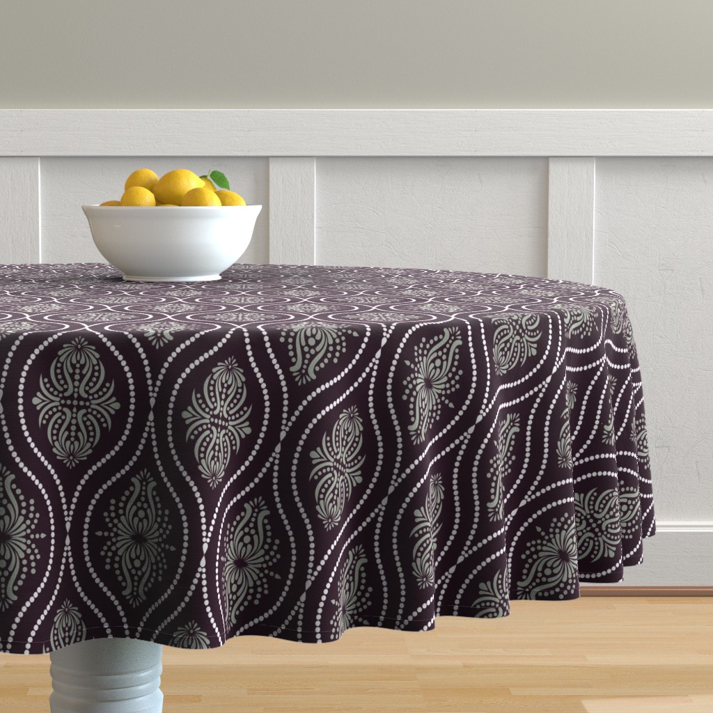 Malay Round Tablecloth featuring Arabesque Style 2 by artsytoocreations