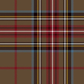 "King George VI / Green Stewart tartan, 7"" red stripe, weathered"