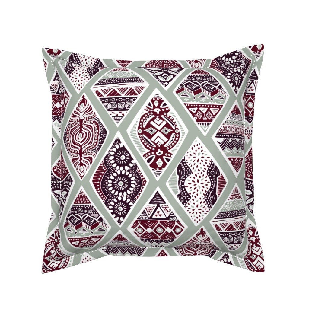 Serama Throw Pillow featuring Sage  Winter Diamonds in Garnet Red, Rasin Purple and Green Balsam - Big by tigatiga