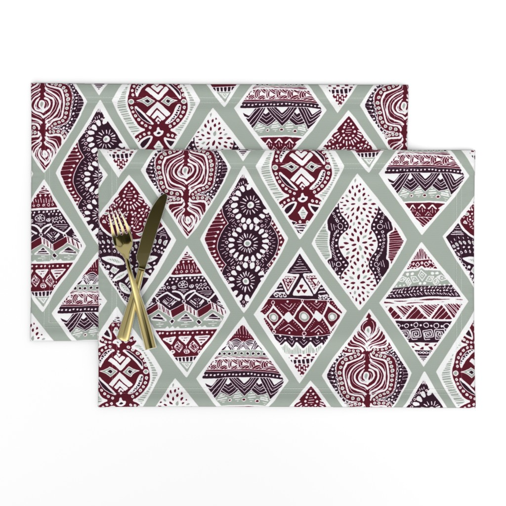 Lamona Cloth Placemats featuring Sage  Winter Diamonds in Garnet Red, Rasin Purple and Green Balsam - Big by tigatiga