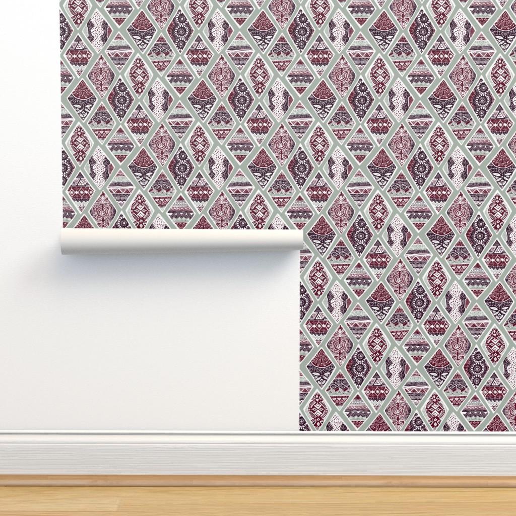 Isobar Durable Wallpaper featuring Sage  Winter Diamonds in Garnet Red, Rasin Purple and Green Balsam - Big by tigatiga