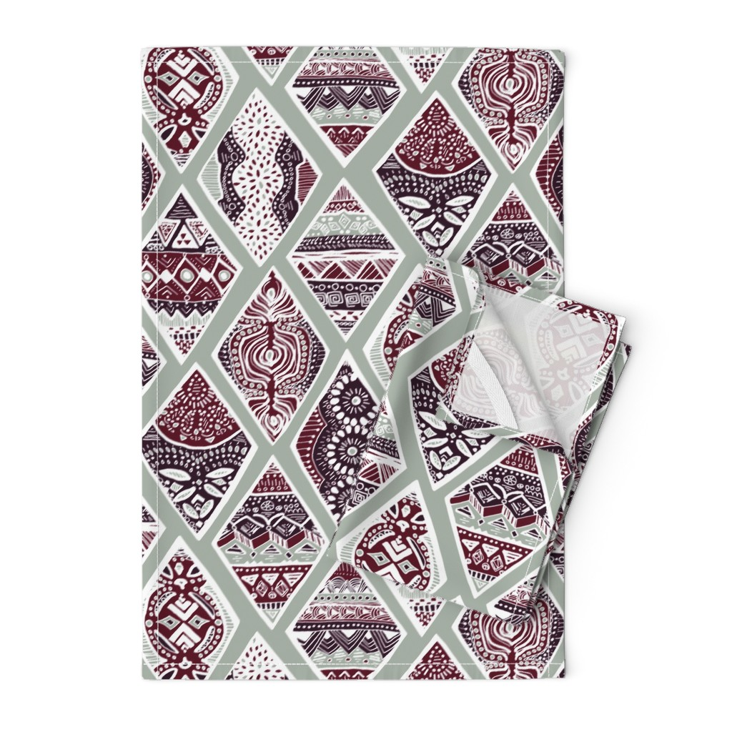 Orpington Tea Towels featuring Sage  Winter Diamonds in Garnet Red, Rasin Purple and Green Balsam - Big by tigatiga