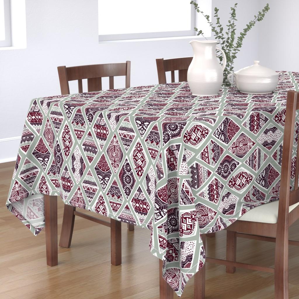 Bantam Rectangular Tablecloth featuring Sage  Winter Diamonds in Garnet Red, Rasin Purple and Green Balsam - Big by tigatiga