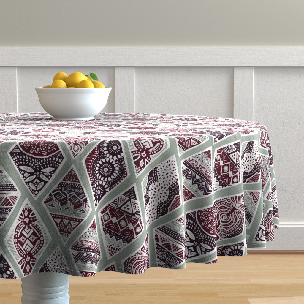 Malay Round Tablecloth featuring Sage  Winter Diamonds in Garnet Red, Rasin Purple and Green Balsam - Big by tigatiga