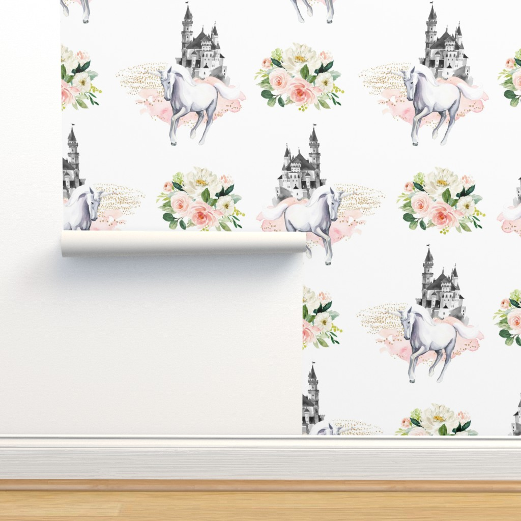 "Isobar Durable Wallpaper featuring 4"" Unicorn and Castle Garden - Pink & White Flowers by shopcabin"
