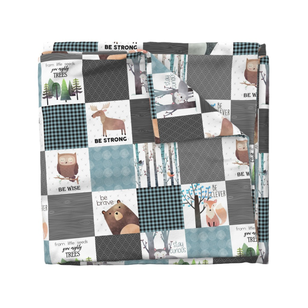 Wyandotte Duvet Cover featuring Woodland Critters Patchwork Quilt - Bear Moose Fox Raccoon Wolf, Gray & Blue Design GingerLous by gingerlous