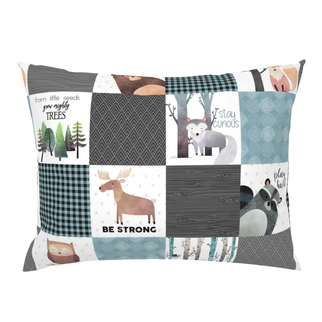 Campine Pillow Sham featuring Woodland Critters Patchwork Quilt - Bear Moose Fox Raccoon Wolf, Gray & Blue Design GingerLous by gingerlous