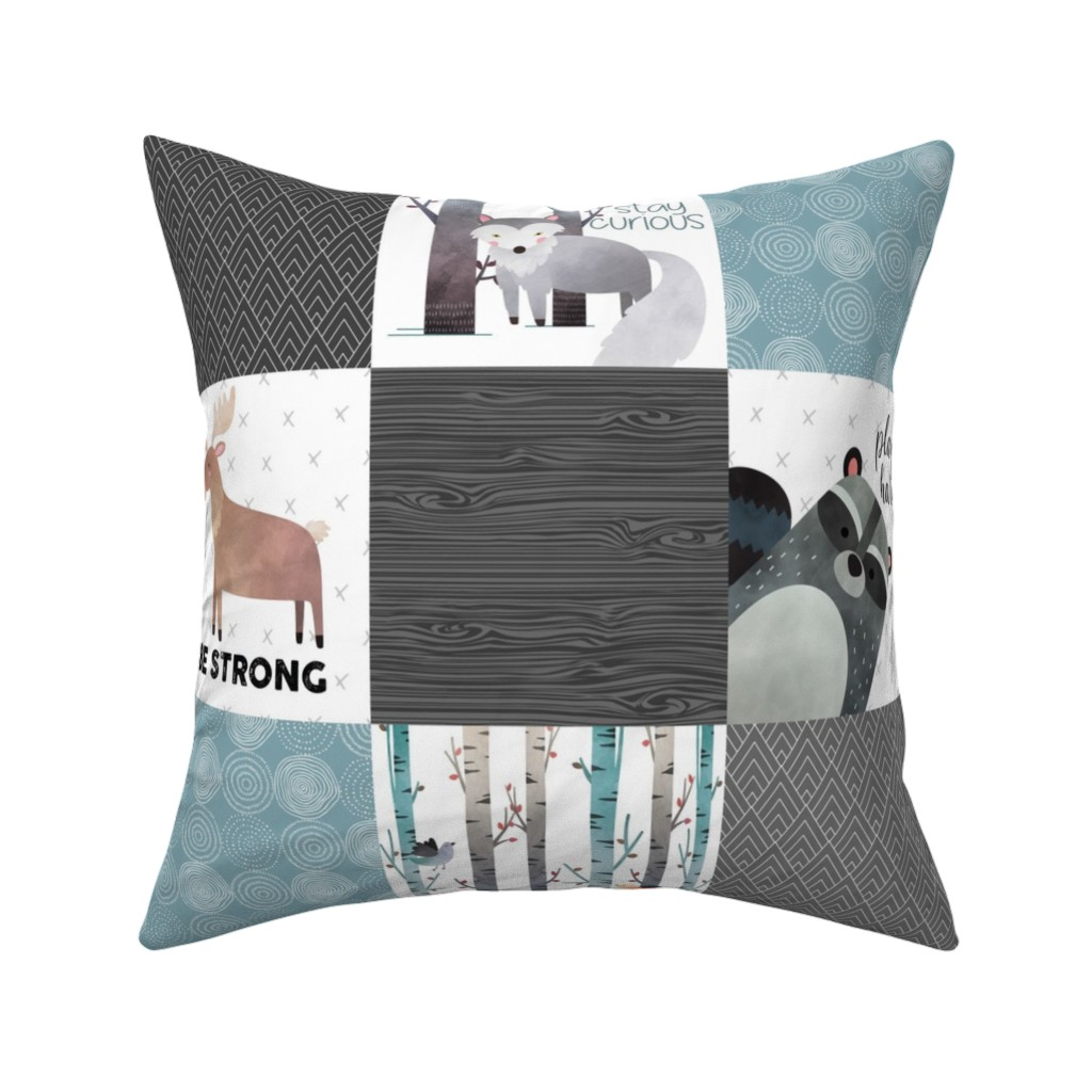 Catalan Throw Pillow featuring Woodland Critters Patchwork Quilt - Bear Moose Fox Raccoon Wolf, Gray & Blue Design GingerLous by gingerlous