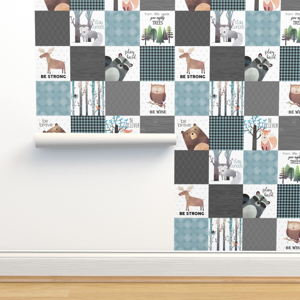 Isobar Durable Wallpaper featuring Woodland Critters Patchwork Quilt - Bear Moose Fox Raccoon Wolf, Gray & Blue Design GingerLous by gingerlous