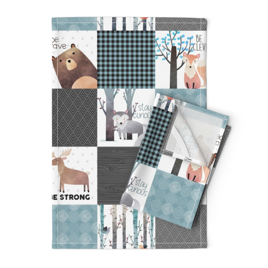 Orpington Tea Towels featuring Woodland Critters Patchwork Quilt - Bear Moose Fox Raccoon Wolf, Gray & Blue Design GingerLous by gingerlous