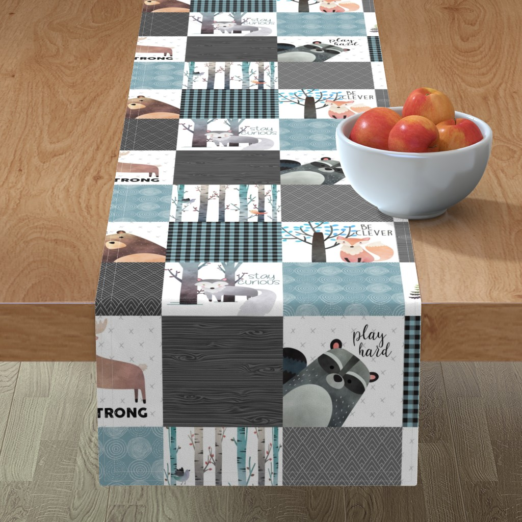 Minorca Table Runner featuring Woodland Critters Patchwork Quilt - Bear Moose Fox Raccoon Wolf, Gray & Blue Design GingerLous by gingerlous