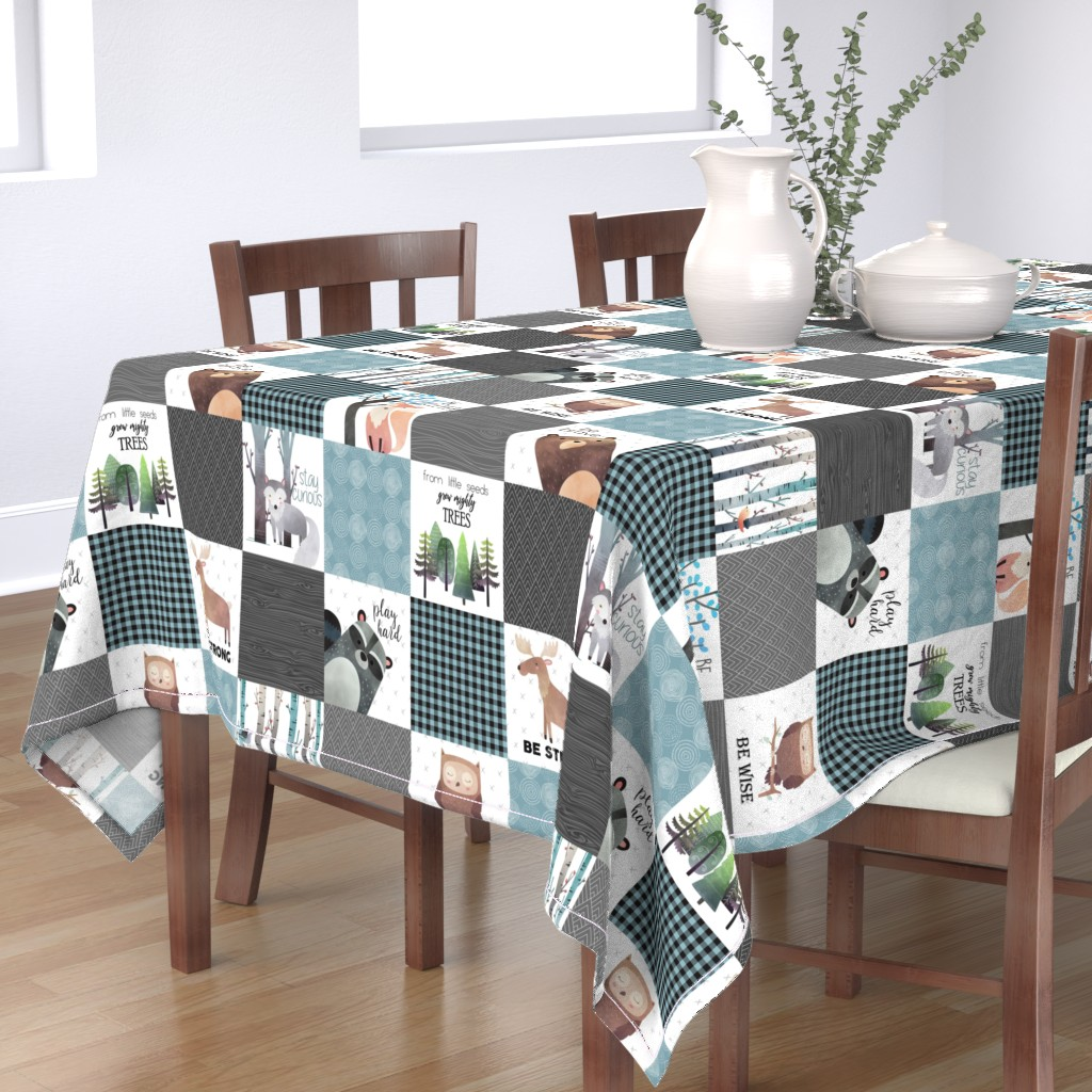 Bantam Rectangular Tablecloth featuring Woodland Critters Patchwork Quilt - Bear Moose Fox Raccoon Wolf, Gray & Blue Design GingerLous by gingerlous