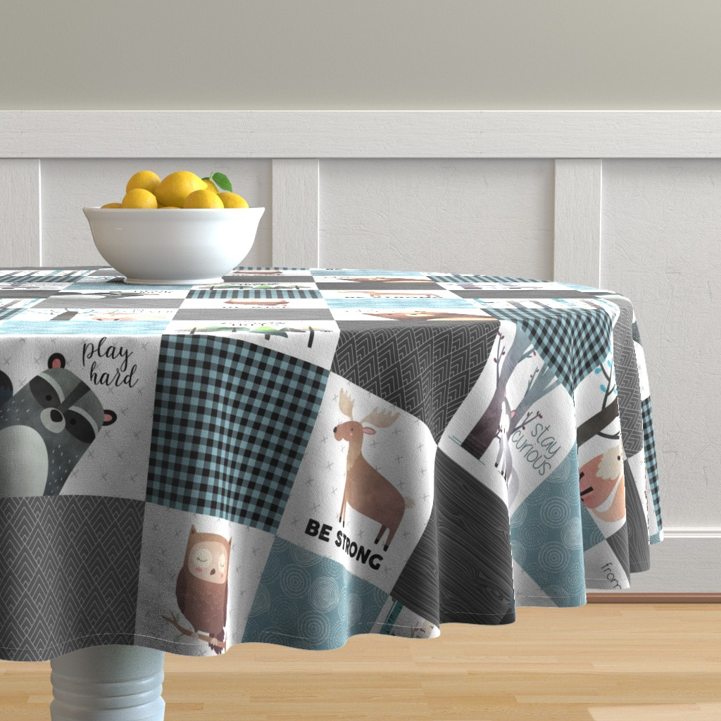 Malay Round Tablecloth featuring Woodland Critters Patchwork Quilt - Bear Moose Fox Raccoon Wolf, Gray & Blue Design GingerLous by gingerlous