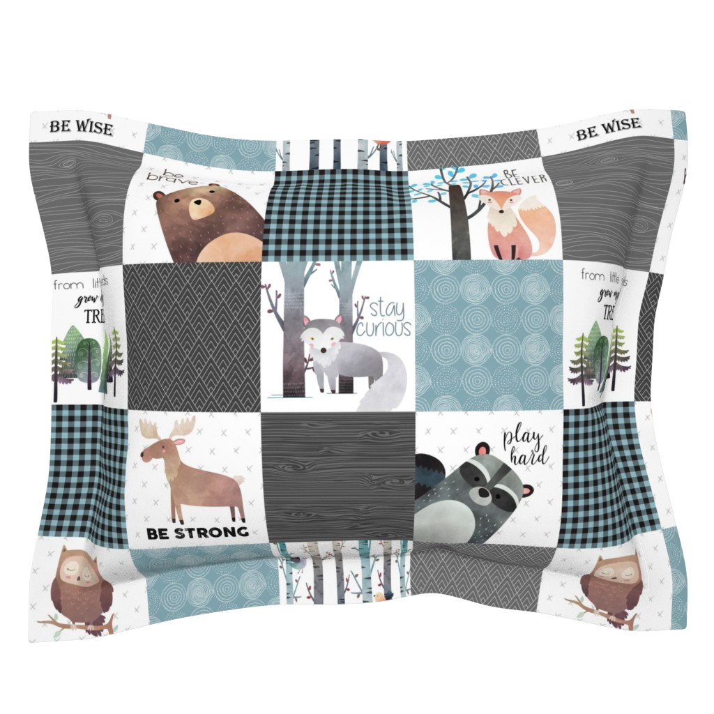Sebright Pillow Sham featuring Woodland Critters Patchwork Quilt - Bear Moose Fox Raccoon Wolf, Gray & Blue Design GingerLous by gingerlous
