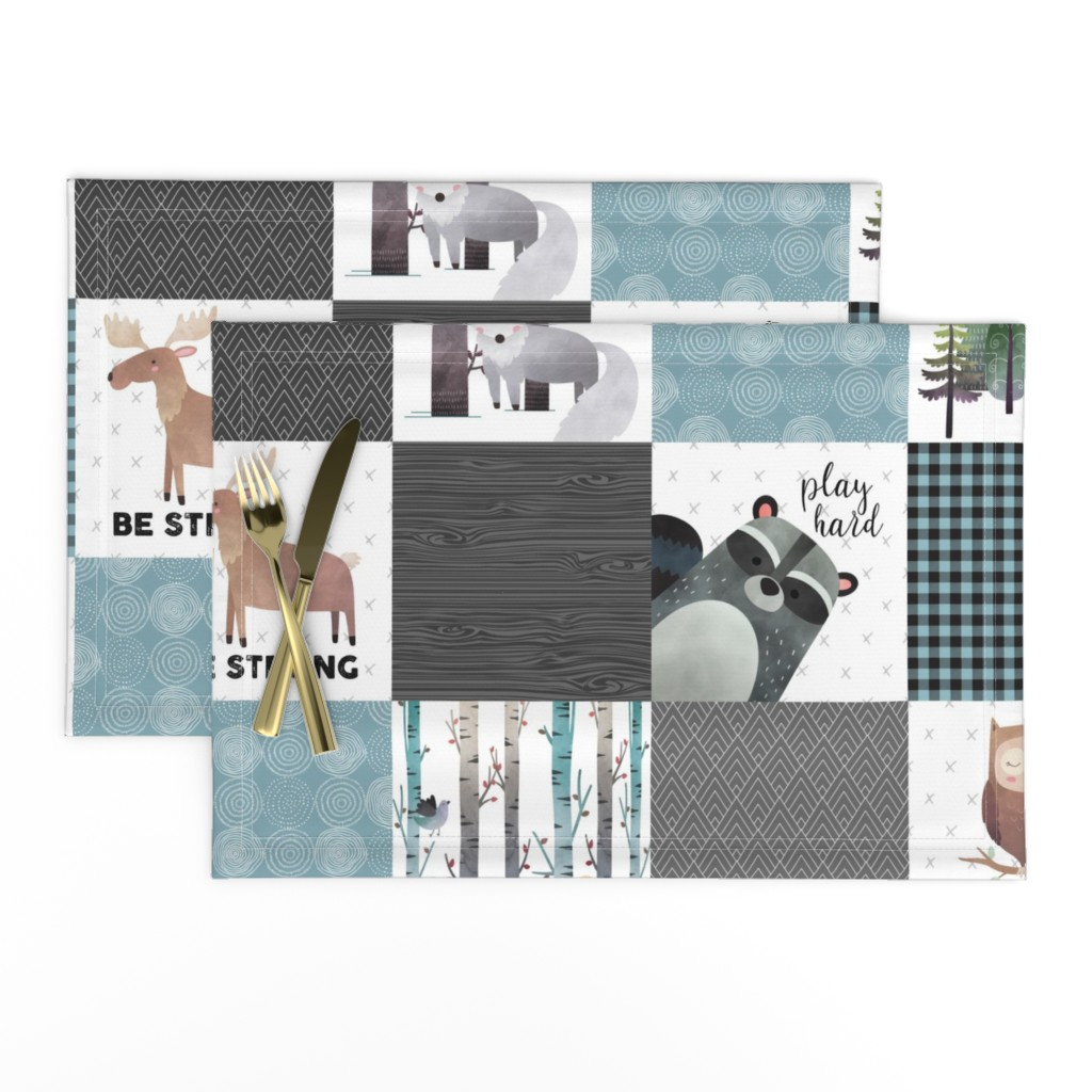 Lamona Cloth Placemats featuring Woodland Critters Patchwork Quilt - Bear Moose Fox Raccoon Wolf, Gray & Blue Design GingerLous by gingerlous