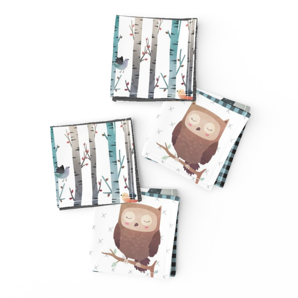 Frizzle Cocktail Napkins featuring Woodland Critters Patchwork Quilt - Bear Moose Fox Raccoon Wolf, Gray & Blue Design GingerLous by gingerlous