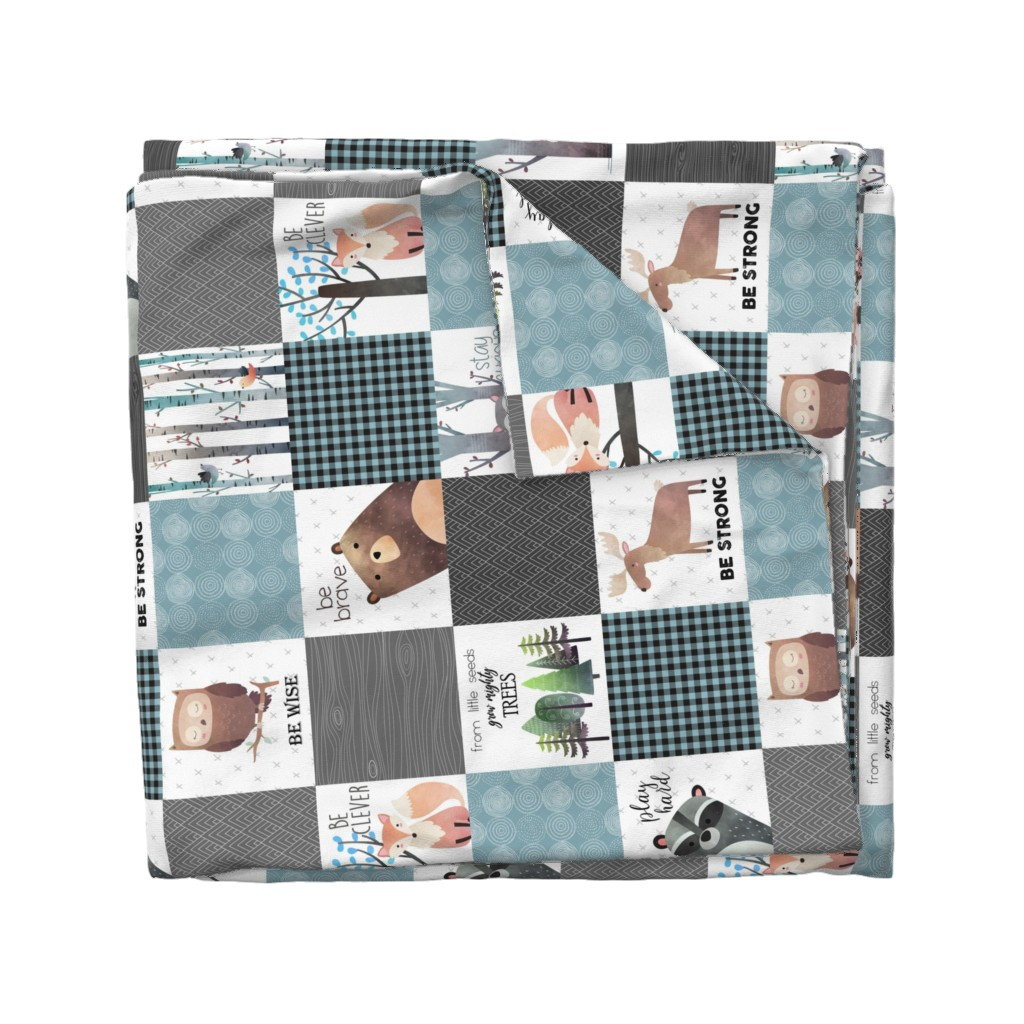 Wyandotte Duvet Cover featuring Woodland Critters Patchwork Quilt (rotated) - Bear Moose Fox Raccoon Wolf, Gray & Blue Design GingerLous by gingerlous