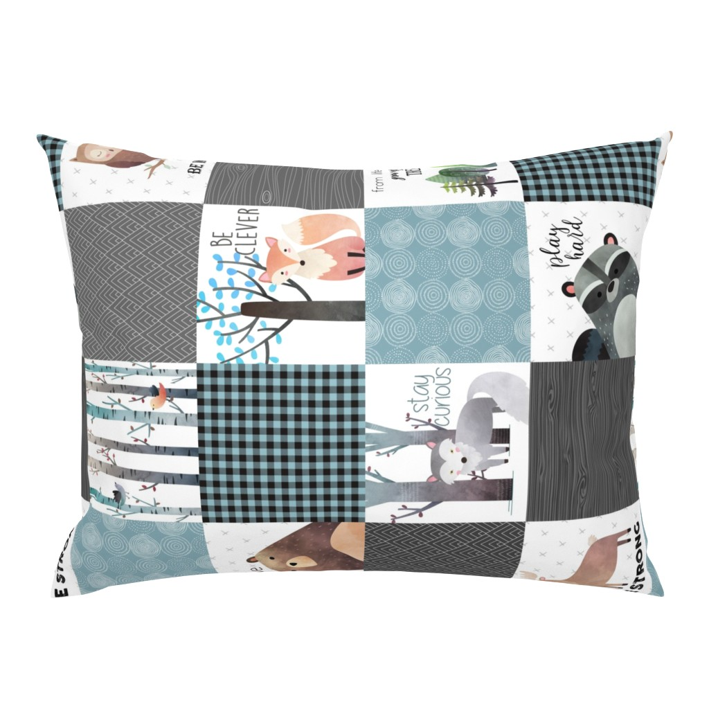 Campine Pillow Sham featuring Woodland Critters Patchwork Quilt (rotated) - Bear Moose Fox Raccoon Wolf, Gray & Blue Design GingerLous by gingerlous