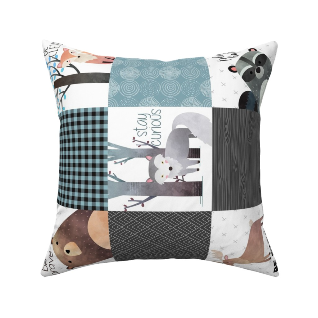 Catalan Throw Pillow featuring Woodland Critters Patchwork Quilt (rotated) - Bear Moose Fox Raccoon Wolf, Gray & Blue Design GingerLous by gingerlous