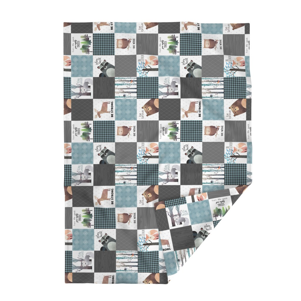 Lakenvelder Throw Blanket featuring Woodland Critters Patchwork Quilt (rotated) - Bear Moose Fox Raccoon Wolf, Gray & Blue Design GingerLous by gingerlous