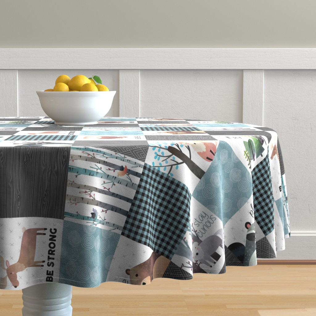 Malay Round Tablecloth featuring Woodland Critters Patchwork Quilt (rotated) - Bear Moose Fox Raccoon Wolf, Gray & Blue Design GingerLous by gingerlous