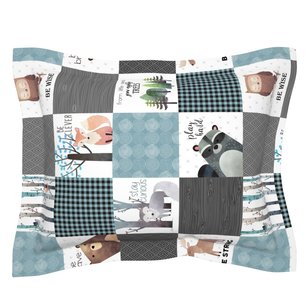 Sebright Pillow Sham featuring Woodland Critters Patchwork Quilt (rotated) - Bear Moose Fox Raccoon Wolf, Gray & Blue Design GingerLous by gingerlous