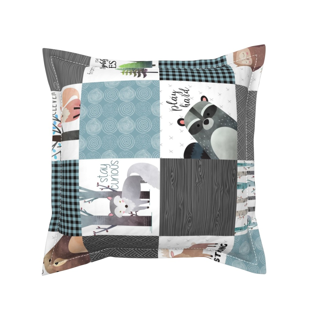 Serama Throw Pillow featuring Woodland Critters Patchwork Quilt (rotated) - Bear Moose Fox Raccoon Wolf, Gray & Blue Design GingerLous by gingerlous