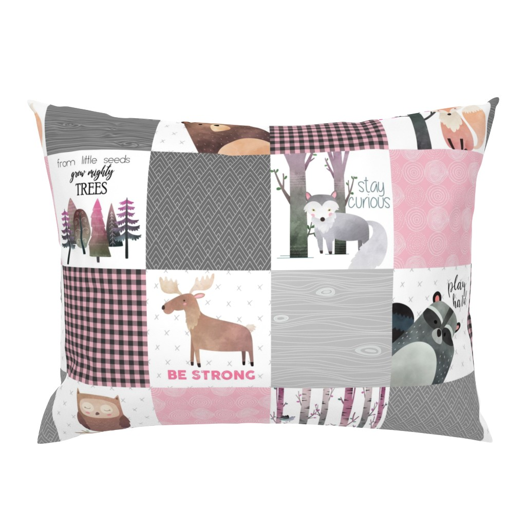 Campine Pillow Sham featuring Woodland Critters Patchwork Quilt - Bear Moose Fox Raccoon Wolf, Grey & Pink Design GingerLous by gingerlous