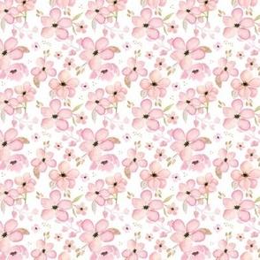 Tiny Pink + Gold Floral - Flower Garden Blooms Baby Girl Nursery GingerLous