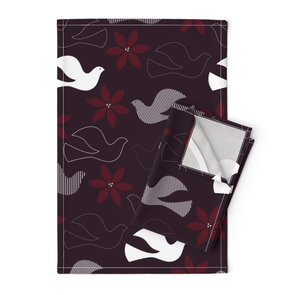 Orpington Tea Towels featuring Peace and Poinsettias by katerhees