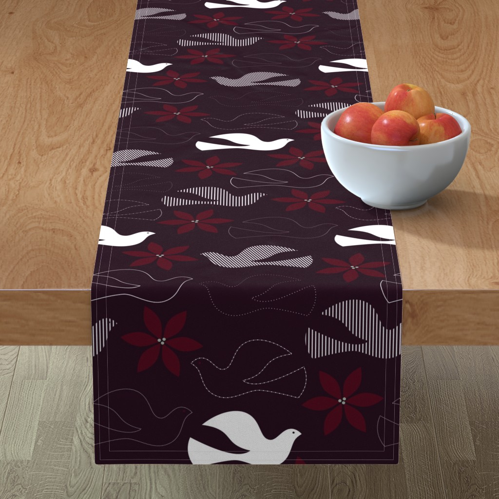Minorca Table Runner featuring Peace and Poinsettias by katerhees
