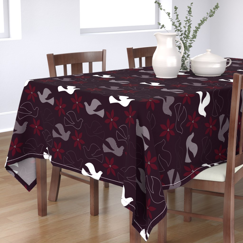 Bantam Rectangular Tablecloth featuring Peace and Poinsettias by katerhees