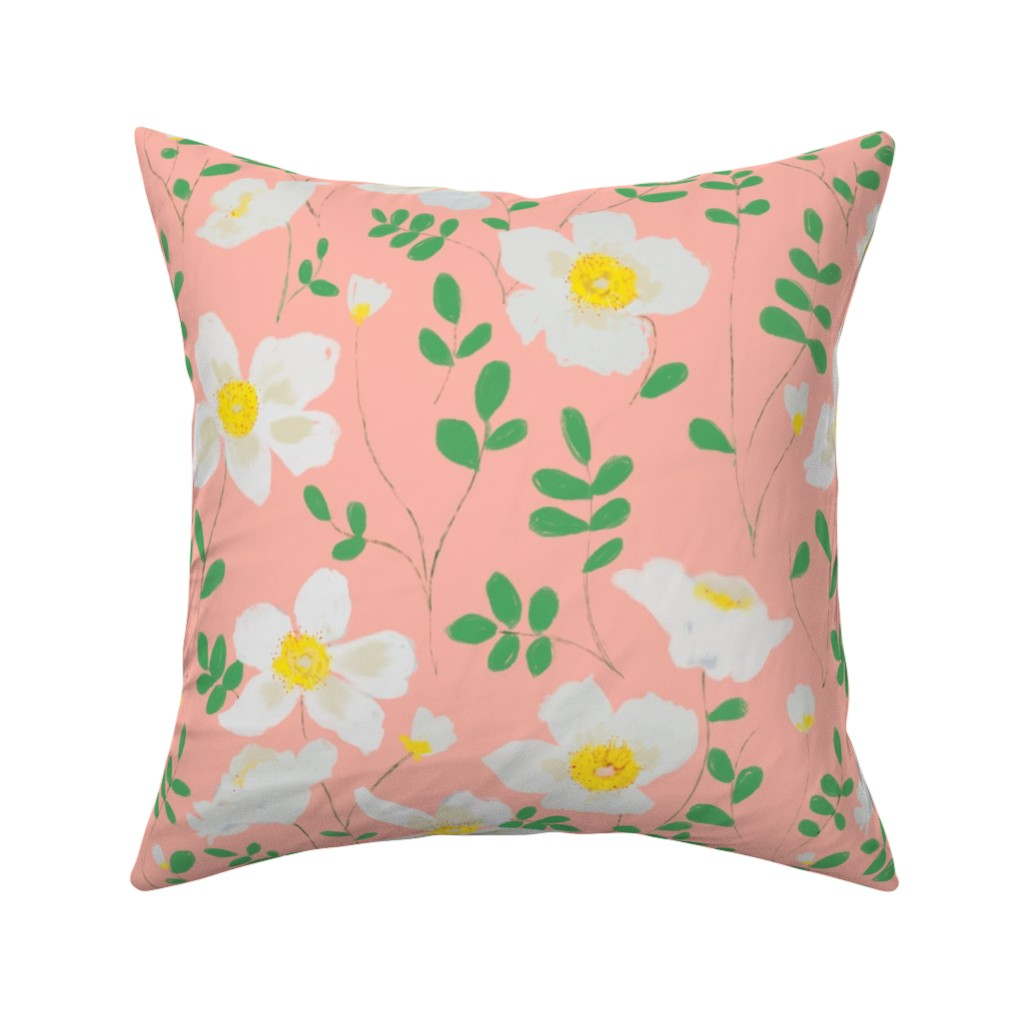 Catalan Throw Pillow featuring Cleo - white floral by alison_janssen