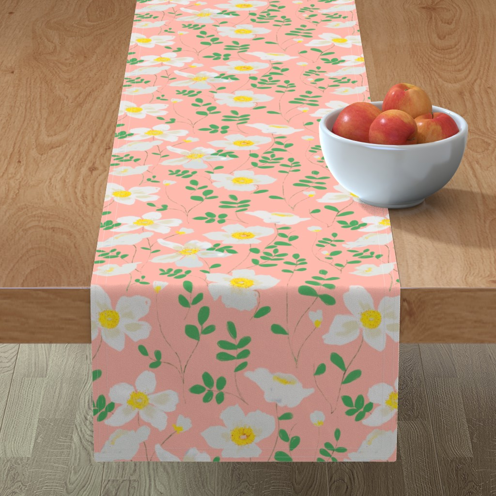 Minorca Table Runner featuring Cleo - white floral by alison_janssen