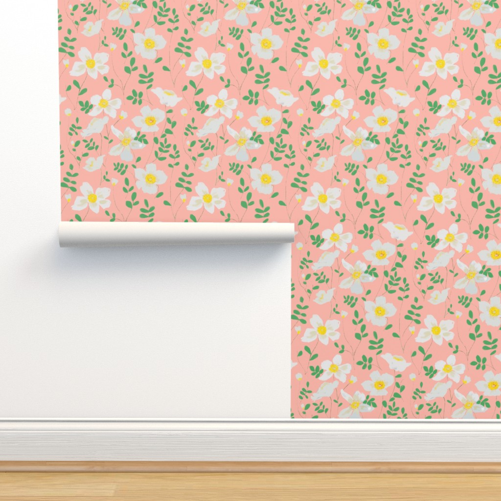 Isobar Durable Wallpaper featuring Cleo - white floral by alison_janssen